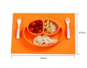 Anti-slip silicone divided  kid  dinner plate