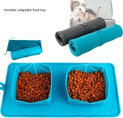 portable collapsible silicone pet  feeding mat
